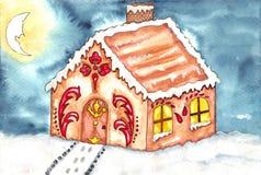 Acquerello della casa di pan di zenzero Immagine Stock
