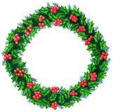 Acquerello della corona di Natale Fotografie Stock Libere da Diritti