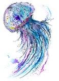 Acquerello della medusa e pittura dell'inchiostro illustrazione di stock