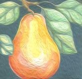 Acquerello della pittura a olio della frutta del tortino dell'Anjou della pera fresco e delizioso Fotografie Stock