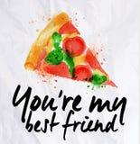 Acquerello della pizza siete il mio migliore amico Fotografia Stock Libera da Diritti