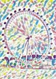 Acquerello della ruota di ferris dell'occhio di Londra illustrazione vettoriale