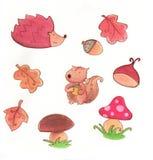 Acquerello delle icone di autunno royalty illustrazione gratis