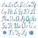 Acquerello di alfabeto latino Fotografia Stock