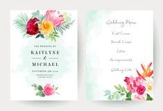 Acquerello di nozze e carte luminosi tropicali di progettazione di vettore dei fiori royalty illustrazione gratis