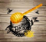Acquerello di struttura di buona qualità, inchiostro dell'ape della banca del miele delle icone, fiore dell'inchiostro, iscrizion Immagini Stock Libere da Diritti