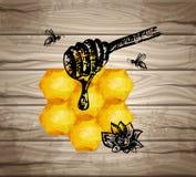 Acquerello di struttura di buona qualità, miele del favo delle icone, mascara, ape della piuma, iscrizione della mano Legno premi Fotografia Stock Libera da Diritti
