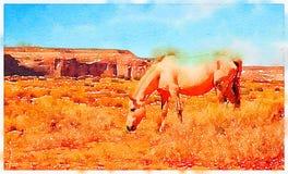 Acquerello di un cavallo in un campo Immagini Stock Libere da Diritti