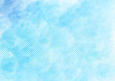 Acquerello di vettore e semitono blu Dots Pattern Background royalty illustrazione gratis