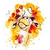 Acquerello ed illustrazione della giraffa di tiraggio della mano di schizzo Stampa animale della giraffa della maglietta arancio Fotografia Stock