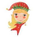 Acquerello Elf e stella Fotografie Stock Libere da Diritti