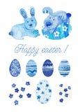 Acquerello felice stabilito di Pasqua immagini stock libere da diritti