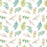 Acquerello Fern And Branches Seamless Texture verde Immagini Stock