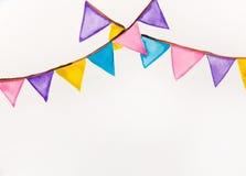 Acquerello festivo delle bandiere di colore Immagine Stock