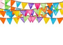 Acquerello festivo delle bandiere di colore Fotografie Stock