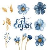 Acquerello floreale messo con i fiori, le foglie e le lettere del disegno della mano (parola Pasqua Fotografia Stock