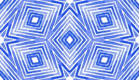 Acquerello geometrico blu Picchiettio senza cuciture curioso fotografia stock