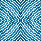 Acquerello geometrico blu Picchiettio senza cuciture curioso immagine stock