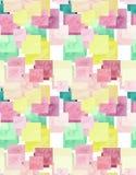 Acquerello giallo-chiaro e Rose Squares Seamless Pattern Fotografie Stock Libere da Diritti