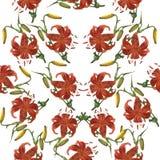 Acquerello Lily Seamless Pattern Fotografie Stock
