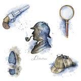 Acquerello messo con gli oggetti di Sherlock Holmes illustrazione di stock
