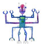 Acquerello originale del robot di scarabocchio isolato Fotografia Stock Libera da Diritti