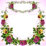 Acquerello Pansy Bouquet Label Fotografia Stock