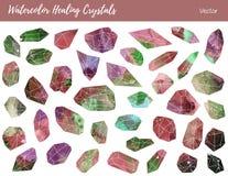 Acquerello, pietre preziose di vettore, cristalli curativi Immagini Stock