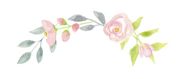 Acquerello Poppy Summer Wreath Arch Mint Garland Wedding Spring Leaves Immagine Stock