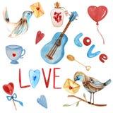 Acquerello romantico nei toni rossi e blu illustrazione di stock