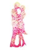 Acquerello rosa degli amanti delle coppie che dipinge fiore floreale romantico Fotografia Stock Libera da Diritti