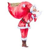Acquerello Santa Claus con la borsa enorme illustrazione di stock