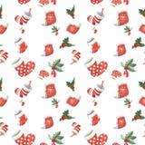 Acquerello senza cuciture del modello di Natale Immagine Stock