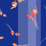 Acquerello senza cuciture del modello e tulipani gialli su un fondo blu profondo con le bande verticali illustrazione di stock