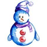 Acquerello variopinto del pupazzo di neve in un cappello illustrazione di stock