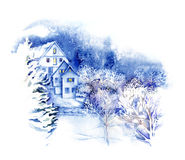 Acquerello - Wonderland- di inverno Immagini Stock