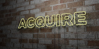 ACQUIRE - Glowing Neon Sign on stonework wall - 3D rendered royalty free stock illustration. Can be used for online banner ads and direct mailers Stock Image