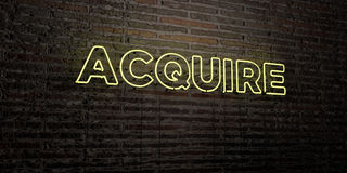 ACQUIRE -Realistic Neon Sign on Brick Wall background - 3D rendered royalty free stock image. Can be used for online banner ads and direct mailers Royalty Free Stock Photography
