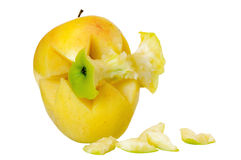 Acquisition. Yellow apple ingest green apple, acquisition concept Royalty Free Stock Image
