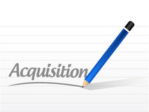 Acquisition message sign illustration design. Over a white background Stock Images