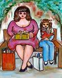 Acquistando con la mamma illustrazione vettoriale