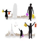Acquistando con la torretta della città illustrazione di stock