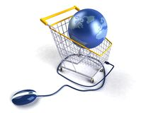 Acquistando sul Internet Fotografie Stock