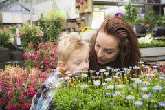 Acquisto del figlio e della madre nel centro di giardinaggio fotografia stock