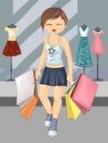 Acquisto del gir e abbigliamento svegli dell'abbigliamento, usura di ogni giorno della ragazza, usura di stagione, modo, ilustrat illustrazione di stock