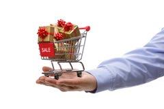 Acquisto del regalo di vendita fotografia stock libera da diritti