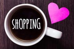 Acquisto del testo della scrittura I prodotti delle merci dell'acquisto del cliente del cliente di significato di concetto immaga Immagini Stock