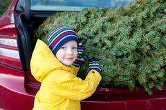 Acquisto dell'albero di Natale Fotografie Stock Libere da Diritti