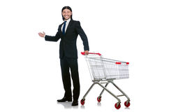 Acquisto dell'uomo con il carretto del canestro del supermercato Immagini Stock Libere da Diritti