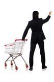 Acquisto dell'uomo con il carretto del canestro del supermercato Fotografia Stock Libera da Diritti